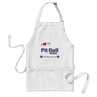 I Love My Pit Bull Mixes (Multiple Dogs) Adult Apron