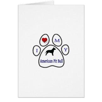 I Love My Pit Bull Paw Print Design Greeting Card