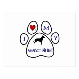 I Love My Pit Bull Paw Print Design Postcard