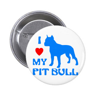 I Love My Pit Bull Pinback Button