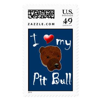 I Love My Pit Bull Postage Stamp
