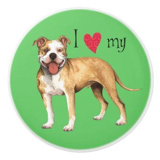I Love my Pit Bull Terrier Ceramic Knob