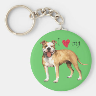 I Love my Pit Bull Terrier Keychain