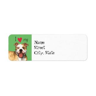 I Love my Pit Bull Terrier Label