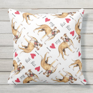 I Love my Pit Bull Terrier Outdoor Pillow