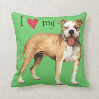 I Love my Pit Bull Terrier Throw Pillow