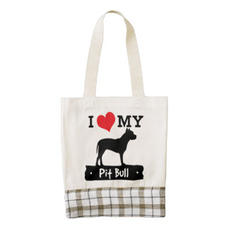 I Love  My Pit Bull Tote by Mini Brothers