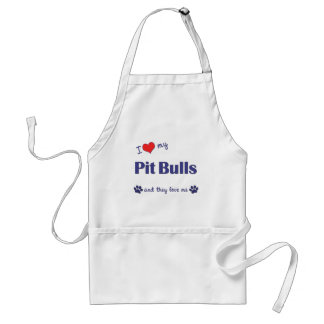 I Love My Pit Bulls (Multiple Dogs) Adult Apron