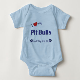 I Love My Pit Bulls (Multiple Dogs) Baby Bodysuit