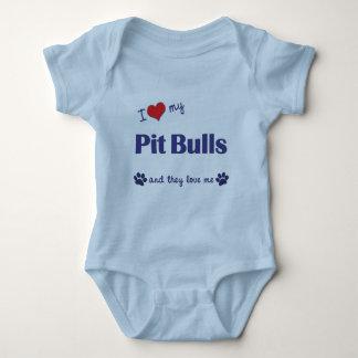 I Love My Pit Bulls (Multiple Dogs) Baby Bodysuit