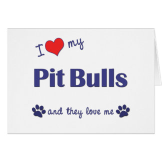 I Love My Pit Bulls Multiple Dogs Cards