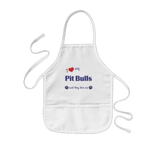 I Love My Pit Bulls (Multiple Dogs) Kids' Apron