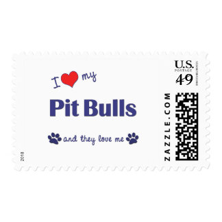 I Love My Pit Bulls (Multiple Dogs) Postage Stamps