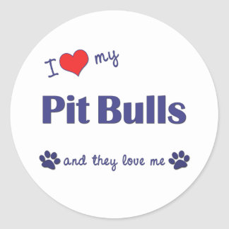 I Love My Pit Bulls Multiple Dogs Stickers