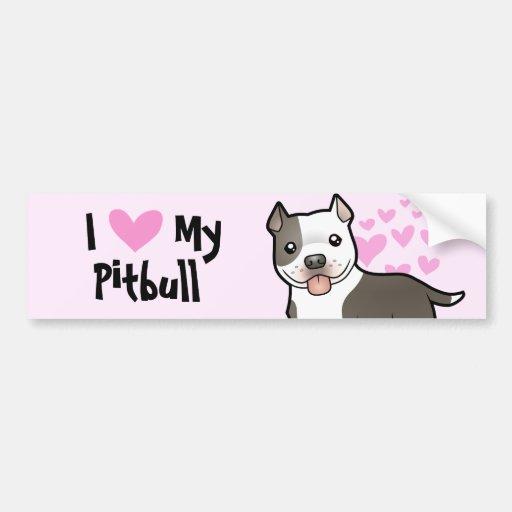 I Love My Pitbull / American Staffordshire Terrier Bumper Sticker