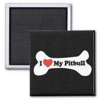 I Love My Pitbull - Dog Bone 2 Inch Square Magnet