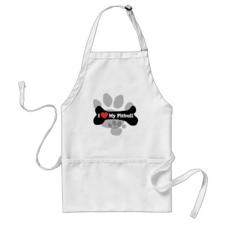 I Love My Pitbull - Dog Bone Adult Apron