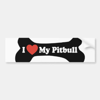 I Love My Pitbull - Dog Bone Bumper Sticker