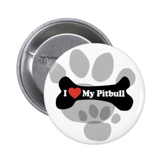 I Love My Pitbull - Dog Bone Pinback Buttons