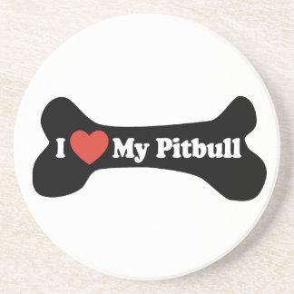 I Love My Pitbull - Dog Bone Coasters