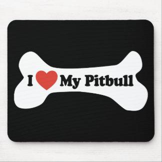 I Love My Pitbull - Dog Bone Mouse Pad