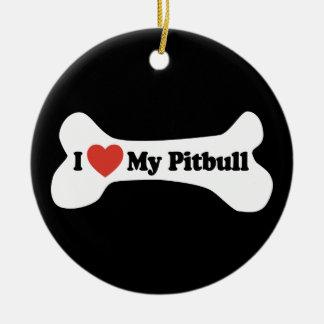 I Love My Pitbull - Dog Bone Ornament