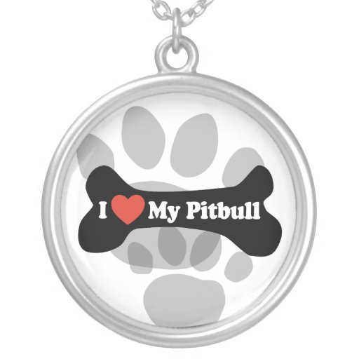 I Love My Pitbull - Dog Bone Personalized Necklace