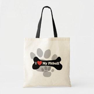 I Love My Pitbull - Dog Bone Tote Bag
