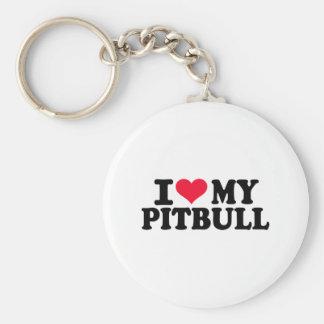 I love my Pitbull Basic Round Button Keychain