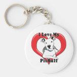 I Love My PitBull Logo Key Chains
