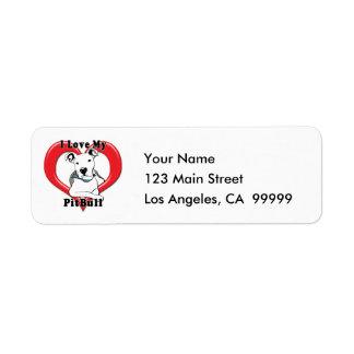 I Love My PitBull Logo Return Address Label
