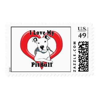 I Love My PitBull Logo Postage