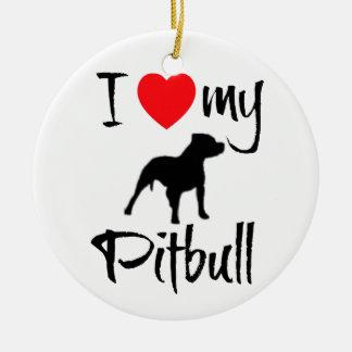 I Love My Pitbull Double-Sided Ceramic Round Christmas Ornament