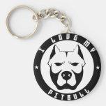 I LOVE MY PITBULL PIT BULL pet dog breed Keychain