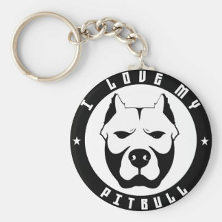 I LOVE MY PITBULL PIT BULL pet dog breed Basic Round Button Keychain