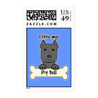 I Love My Pitbull Stamps
