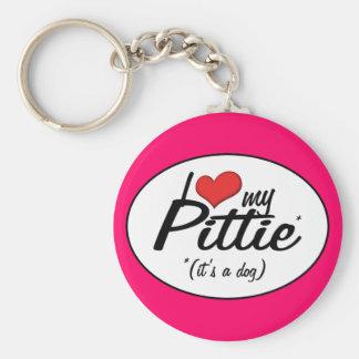 I Love My Pittie (It's a Dog) Keychain