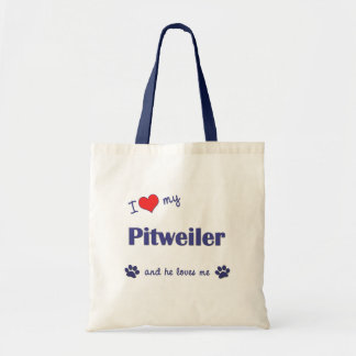I Love My Pitweiler (Male Dog) Budget Tote Bag