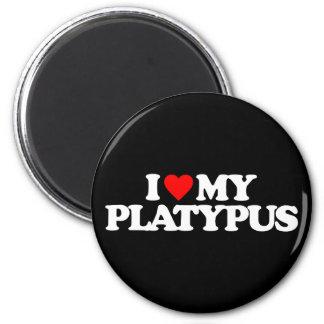 I LOVE MY PLATYPUS 2 INCH ROUND MAGNET