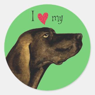 I Love my Plott Classic Round Sticker