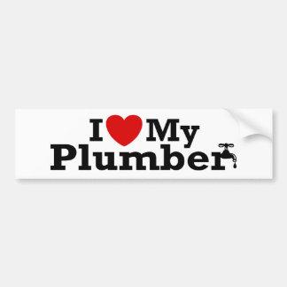 I Love My Plumber Car Bumper Sticker
