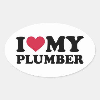 I love my Plumber Oval Sticker