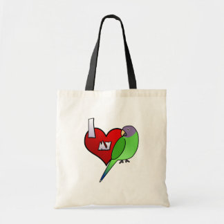 I Love my Plumheaded Parakeet Hen Canvas Bag