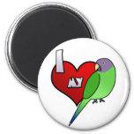 I Love my Plumheaded Parakeet (Hen) Refrigerator Magnets