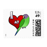 I Love my Plumheaded Parakeet (Hen) Stamps