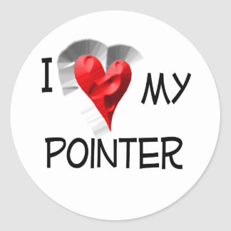 I Love My Pointer Classic Round Sticker