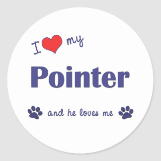 I Love My Pointer (Male Dog) Stickers