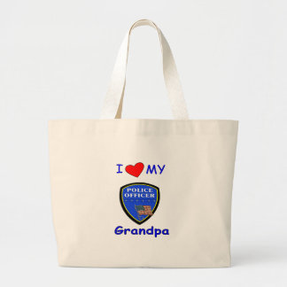 I Love My Police Grandpa Large Tote Bag