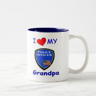 I Love My Police Grandpa Two-Tone Mug