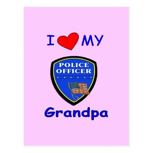 I Love My Police Grandpa Post Cards